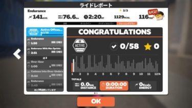 ZWIFT 「Active Offseason 」【Endurance】2時間20分休憩無し!