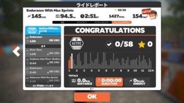 ZWIFT 「Active Offseason 」【Endurance With Max Sprints】鬼畜トレ