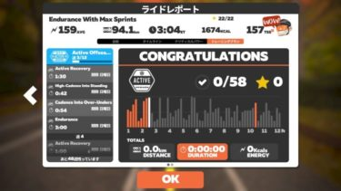 ZWIFT 【Active Offseason】3時間のエンデュランス走。強度高めのLSD。